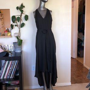 BANANA REPUBLIC | Black satin asymmetric dress